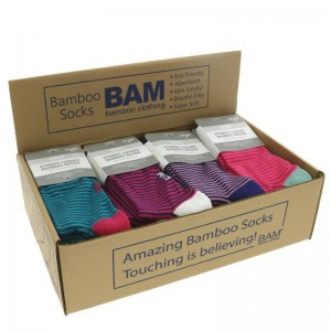 One Pair of Striped Bamboo Socks Adult Size 4 - 7(may be wide or narrow stripe, specific colours cannot be guaranteed)